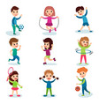 smiling little kids characters doing different vector image vector image