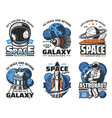 space adventure galaxy exploration icons vector image