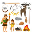 stone age people and tools vector image