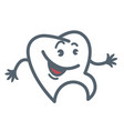 tooth with cheerful face and hands outline vector image