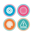 Wood and saw circular wheel icons Attention vector image vector image