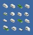 recreational vehicles isometric icons set vector image