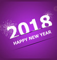2018 happy new year on pink background vector image vector image