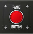 3d realistic panic button on black background