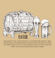 beer barrel and glass vintage hand drawn poster vector image vector image