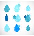 Blue Water Drops Symbols Set vector image