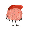 brain character emotion brain character standing vector image vector image