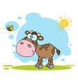 Brown Calf Watching A Bee On A Sunny Day vector image vector image