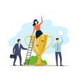 business teamwork men and woman got a golden vector image