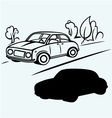 Car goes on the road in the woods vector image vector image