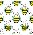 Cartoon bee with tiny wings seamless pattern vector image