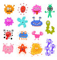 cartoon color characters bacteria sign icon set vector image