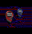 circuit board black friday and cyber monday vector image
