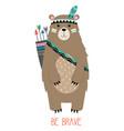 cute card with tribal bear vector image vector image