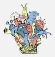 cute monster doodle cartoon vector image vector image