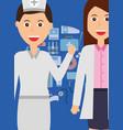 doctor female and nurse occupation medicine vector image vector image