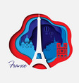 france 3d paper cut background abstract shapes vector image