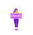 girl with a million dollar check raffle winner vector image vector image