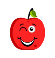 happy apple emoticon vector image