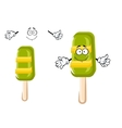Happy colorful frozen ice cream lollipop vector image