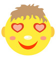 in love smiley boy vector image