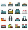 industrial building factory set flat icons vector image