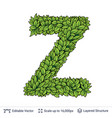 letter z symbol of green leaves vector image vector image