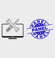 line desktop tools icon and grunge panel vector image vector image