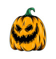 monster yellow pumpkin with scary face vector image vector image