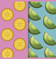 pattern of fresh oranges and kiwi vector image vector image