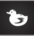 pet toy duck icon on black background for graphic vector image