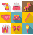 princess accessories icon set flat style vector image vector image