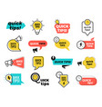 quick tips badges graphic stickers ideas vector image vector image