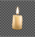 realistic detailed 3d burning wax candle on a vector image vector image