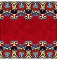 red ethnic stripe ornament on floral background vector image