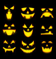 scary pumpkin faces isolated icons set vector image vector image