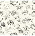 Seamless pattern marine animals contours vector image