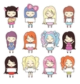 Set collections of cute girls holding blank frames vector image vector image