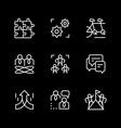 set line icons teamwork vector image vector image