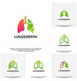 set of lung care logo designs nature lungs logo vector image