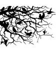 silhouettes birds sitting on tree branches vector image