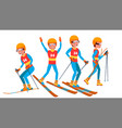 skiing male player slope competition vector image vector image