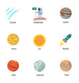 space discovery icon set flat style vector image