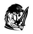 strong warrior with a lion head vector image vector image