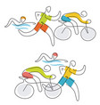 triathlon race line art vector image vector image
