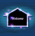 Welcome banner glowing arrow vector image