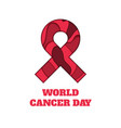 world cancer day papercut ribbon vector image vector image