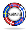 Scandinavian flags in a circle vector image