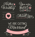 Set of wedding stickers and ribbons vector image