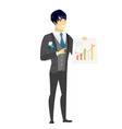 asian groom showing financial chart vector image vector image